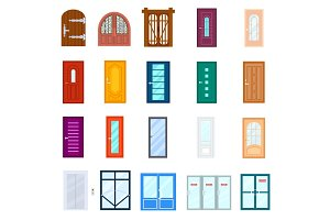 Entrance door isolated vector set in flat design