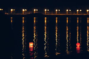 Lighting water Lanterns on river at night