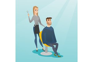 Hairdresser making haircut to hipster man.