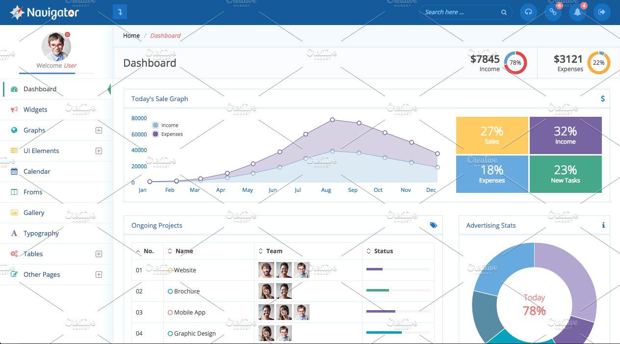 Navigator   Creative Bootstrap Themes ~ Creative Market