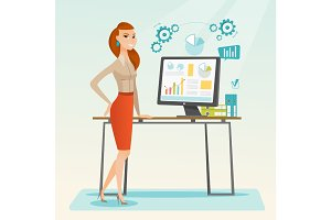 Business woman making presentation on computer.