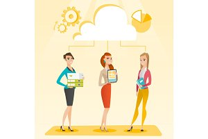 Business women and cloud computing technologies.
