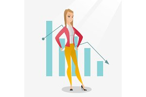 Bancrupt business woman vector illustration.