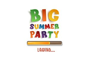 Big summer party loading poster template.