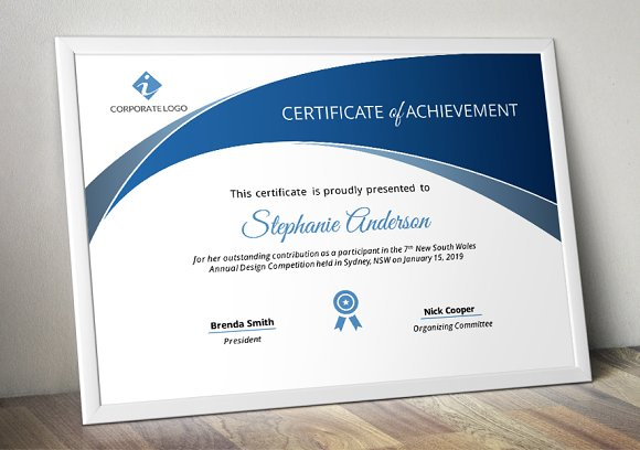 Powerpoint certificate template stationery templates creative market yelopaper Image collections