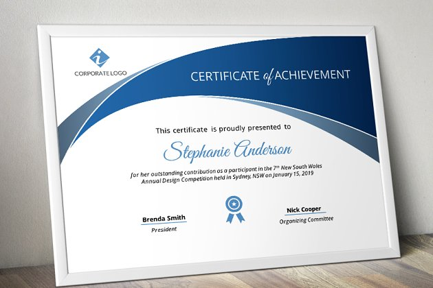 PowerPoint certificate - Stationery Templates   Creative Market Pro