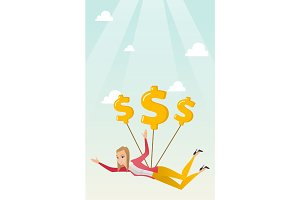 Business woman flying with dollar signs.