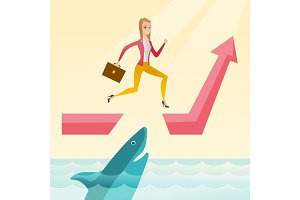Business woman jumping over ocean with shark.