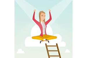 Happy business woman sitting on the cloud.