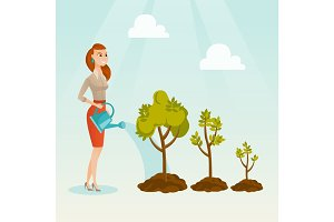 Business woman watering trees vector illustration.