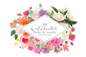 30 Watercolor vector & PNG clipart