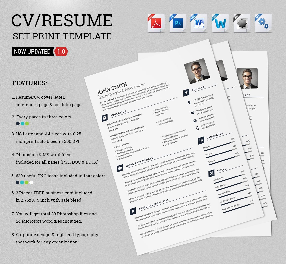 CV/Resume Set Print Template ~ Resume Templates ~ Creative Market