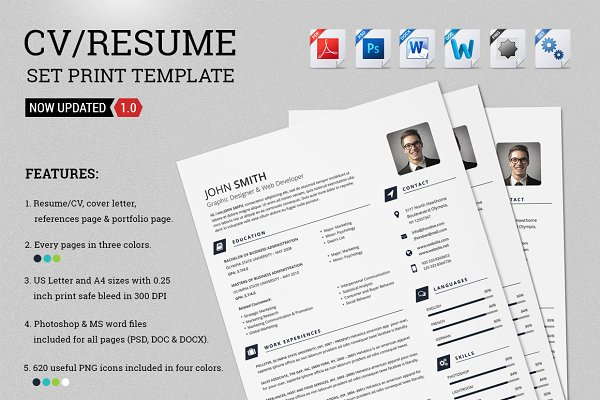 CV/Resume Set Print Template