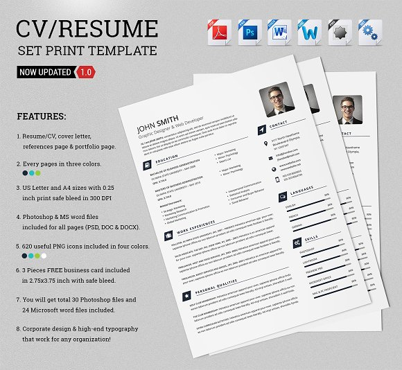 cv resume set print template resume templates creative market