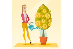 Woman watering money tree vector illustration.