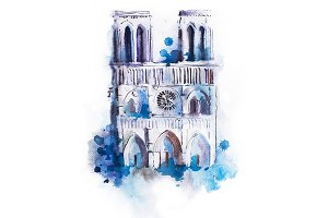 Watercolor drawing of Notre-dame. aquarelle Paris view painting
