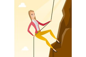 Business woman climbing on the mountain.
