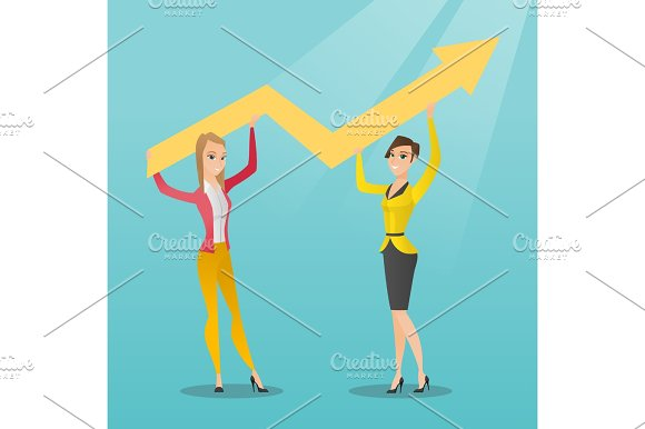 Two Business Women Holding Growth Graph