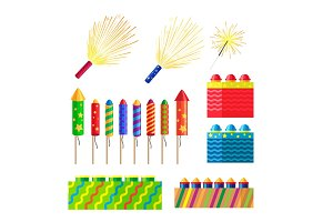 Collection of Fireworks. New Year Decorations