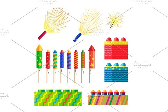Collection Of Fireworks New Year Decorations
