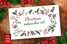 Watercolor Christmas set