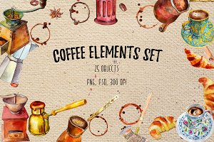 Coffee elements set