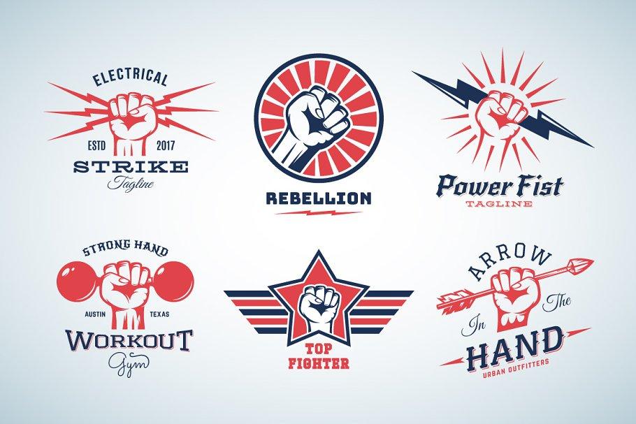 882234a0a Fists/Hands Retro Labels Set ~ Logo Templates ~ Creative Market