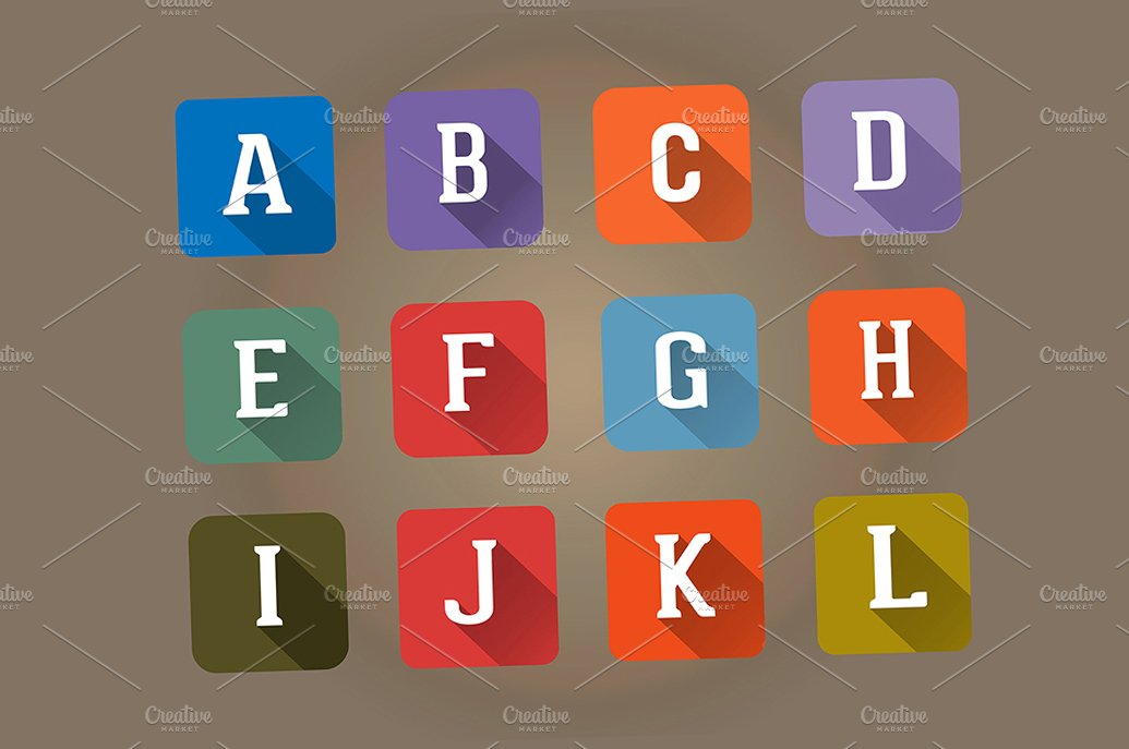Set Flat Icons Alphabet Letter A L Icons Creative Market