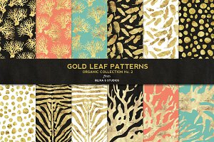 Organic Gold Leaf Digital Patterns