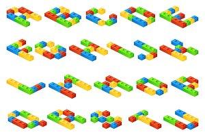 Isometric 3D alphabet letters