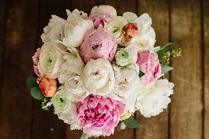 Spring Peony Bouquet on Rustic Wood