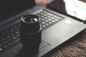 Camera Lens on Laptop