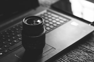 Camera Lens on Laptop in B/W