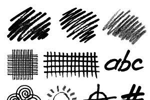 Grunge hand drawn geometric elements