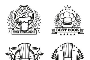 Chef hat labels for restaurant
