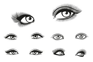 Vector woman eyes set