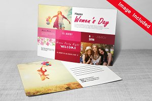 Happy Women's Day Postcard Template