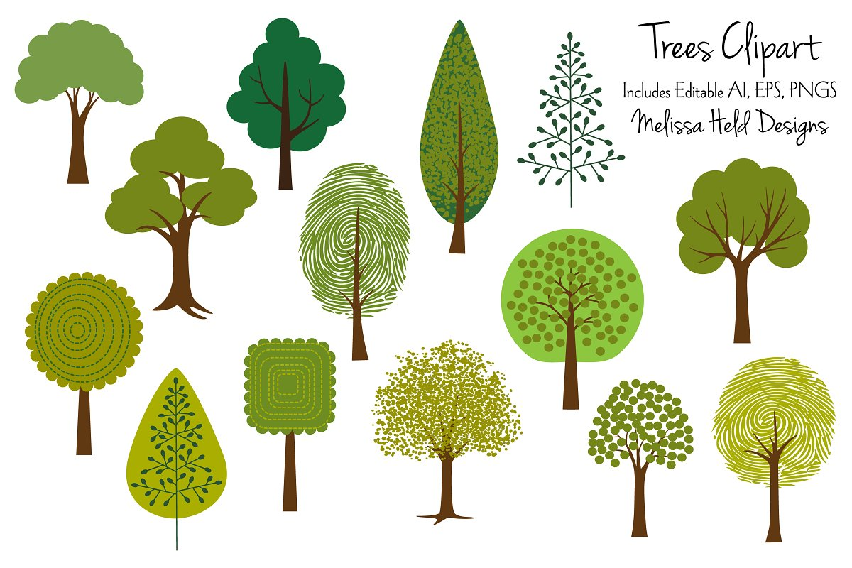 Tree Clipart 2 Illustrations Creative Market