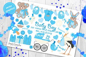 baby boy vector set of 24 clipart