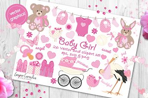 Baby girl 24 vector elements set, cl