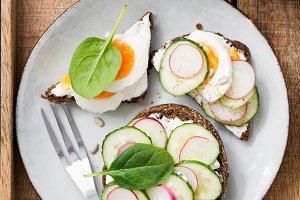 Fresh healthy toasts on plate