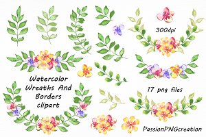 Watercolor floral Wreaths
