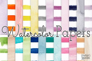 Watercolor Stripes and Solid Papers