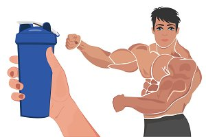 protein shaker and posing bodybuilde