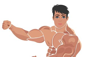 Bodybuilding, power lifting vector