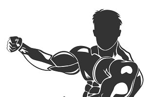 icon of posing bodybuilder, vector