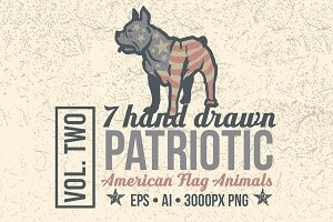 7 Hand Drawn Patriotic Animals Vol 2