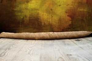Wooden table with empty background a