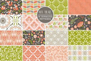 Fox Trail Seamless Patterns