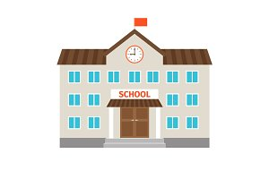 School flat building icon